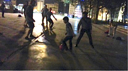 Playing 3sided football in Taksim Square at night